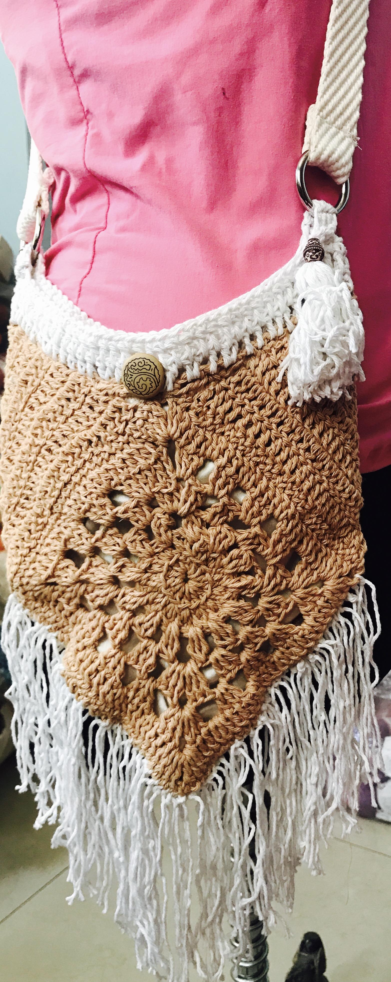 Crochet Sling Bag -Brown - The Crochet Bella