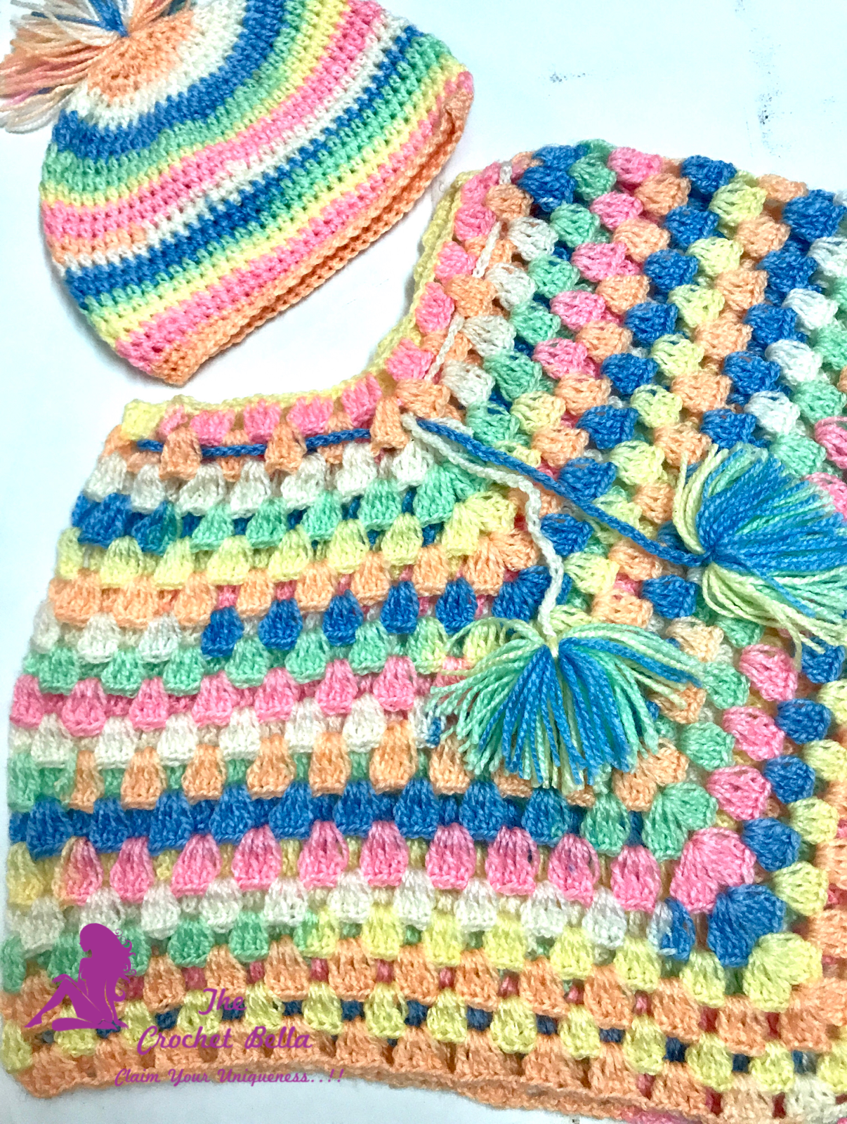 Baby Poncho Set Multi The Crochet Bella