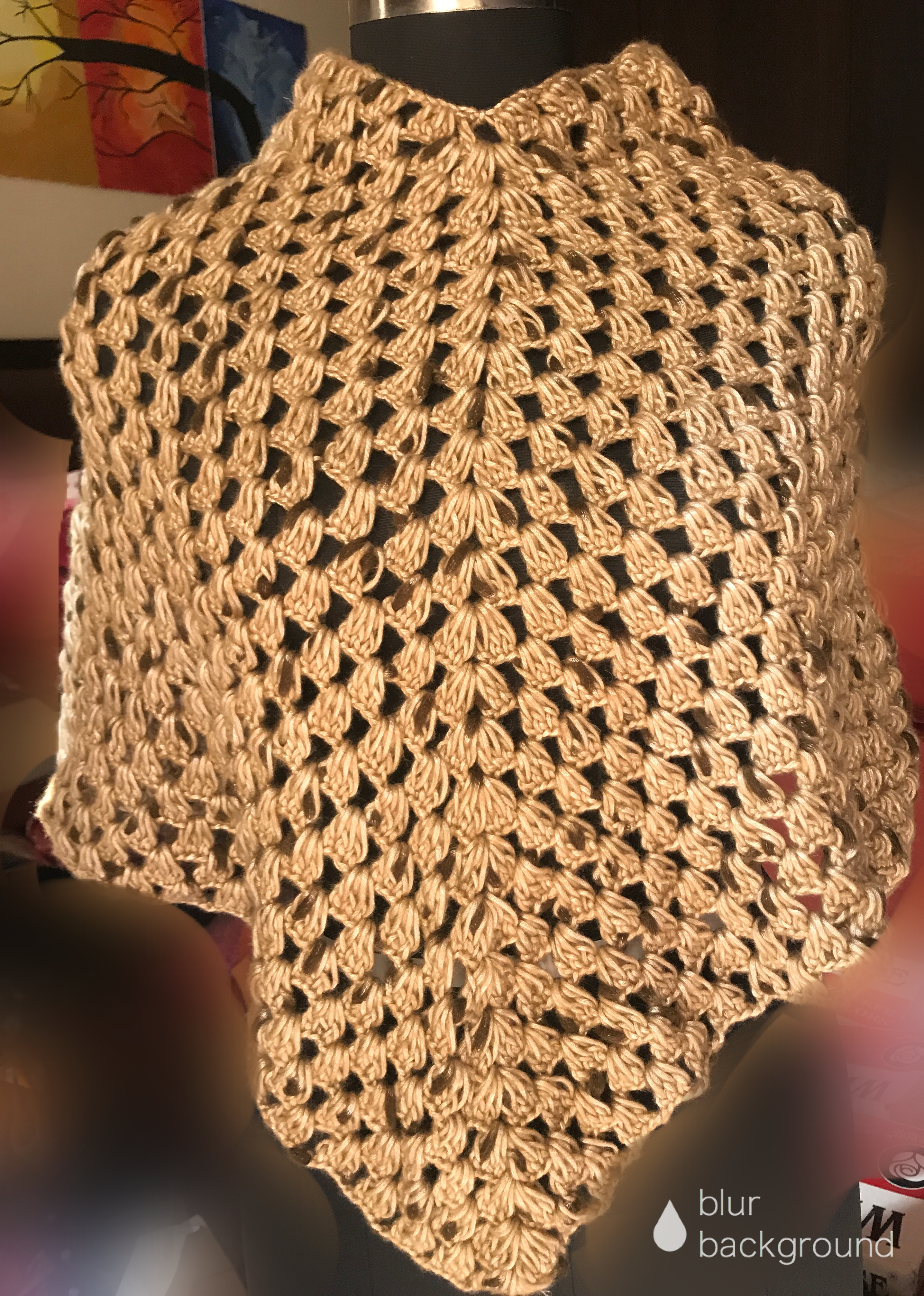 Crochet Woolen poncho snoflakes pattern -Golden - The Crochet Bella