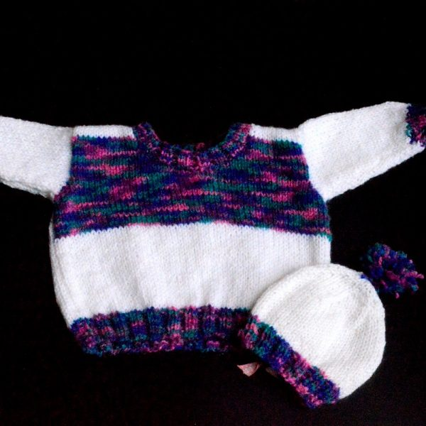 Baby Hand Knitted Full Sweater In White And Multi The Crochet Bella