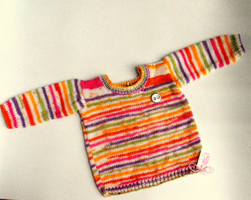 c777f9701 Baby hand knitted Full Sweater in multi color - The Crochet Bella